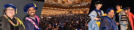 Doctoral Hooding Ceremony at Royce Hall composite image of graduates, faculty and guests and the auditorium