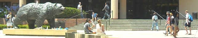 Photo of students near the Bruin Bear and Wooden Center.