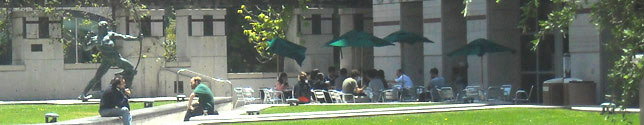 Photo of students sitting in plaza by the Gonda Neuroscience and Genetics Research Center