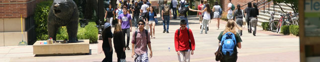 Photo of students near the Bruin Bear