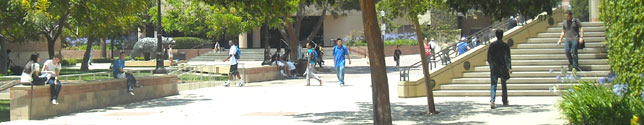 Photo of students in Bruin Plaza.