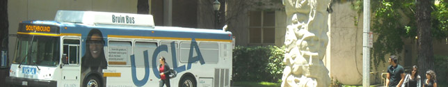 Photo of students in front UCLA Campus Shuttle.