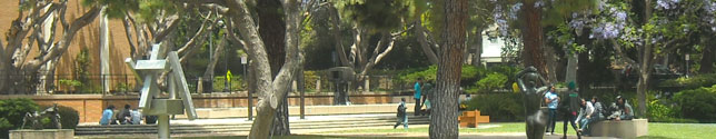 Photo of students in the Murphy Sculpture Gardens - Did you know that the garden features over 70 sculptures.