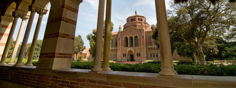 Royce Hall arches to Powell Library