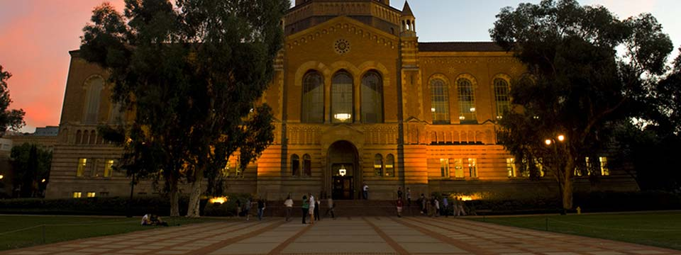 Exterior of Powell Library at dusk