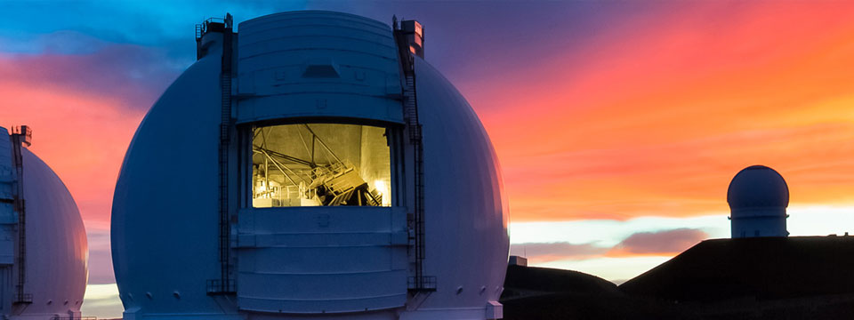 Hawaiian sunrise at the Keck Observatory