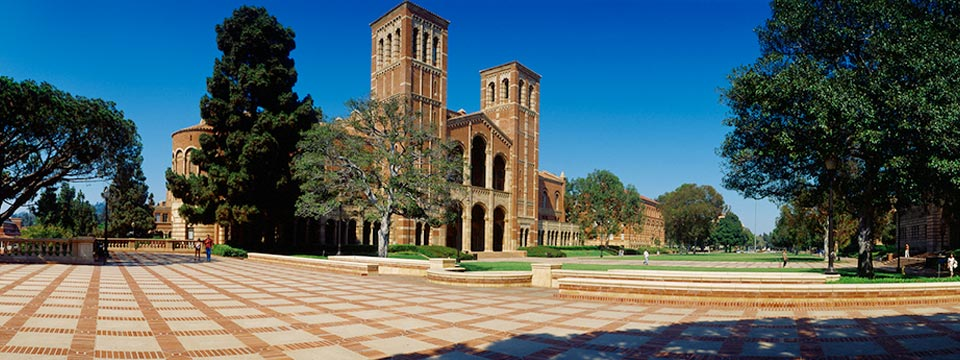 Brick walkway outside of Royce Hall