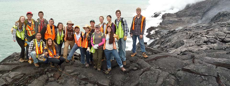 Students wear hats and protective vests in Hawaii