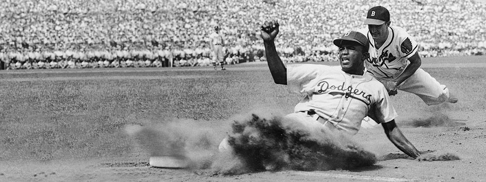 Jackie Robinson, UCLA '41, played baseball with the Dodgers