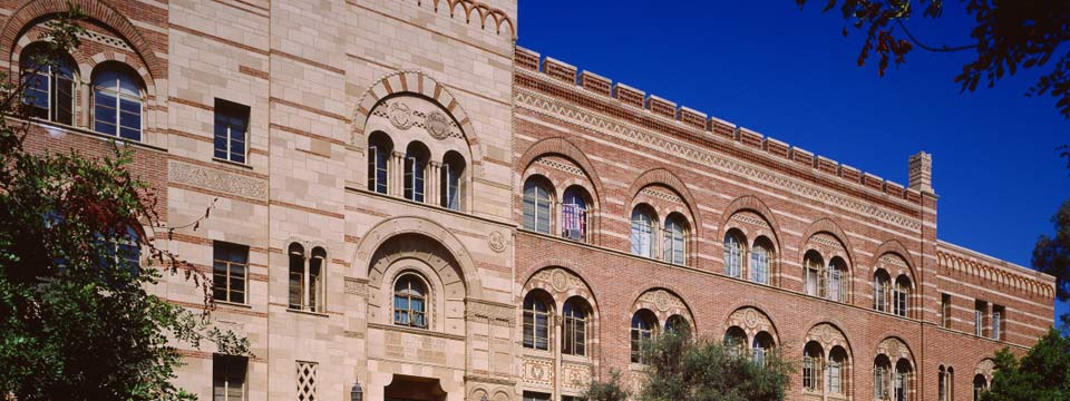Outside of the Humanities Building, one of UCLA's oldest buildings