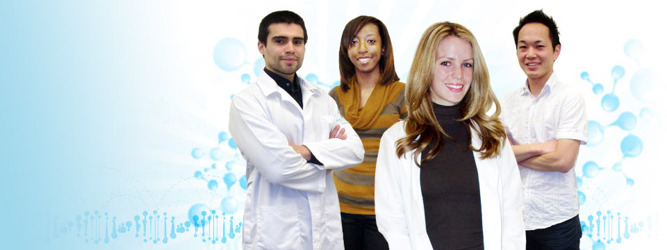 Diverse students in medical lab coats in front of blue molecule structures