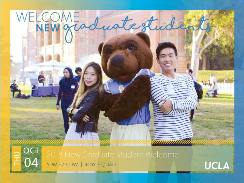 October 4th 2018 - New Graduate Student Welcome in Royce Quad from 5 to 7:30 pm